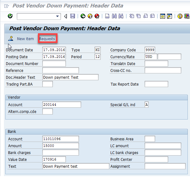 SAP Financials Tips - Including a Debit item on a Vendor