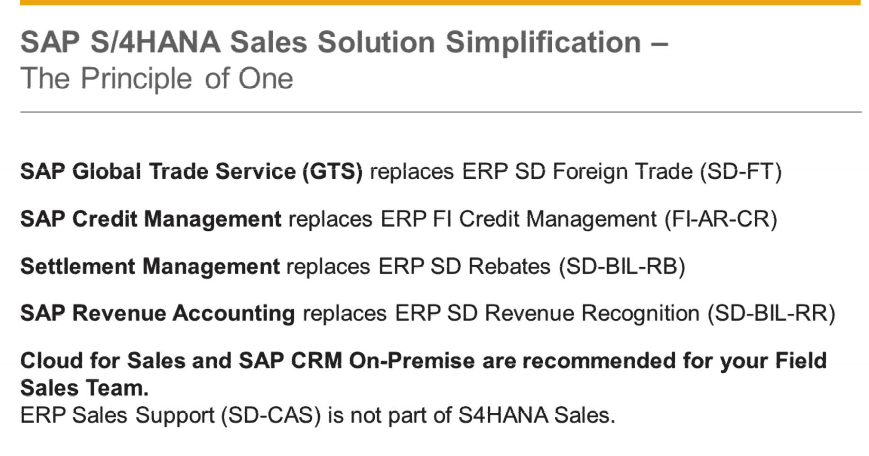 SAP S4HANA Sales Solution Simplification