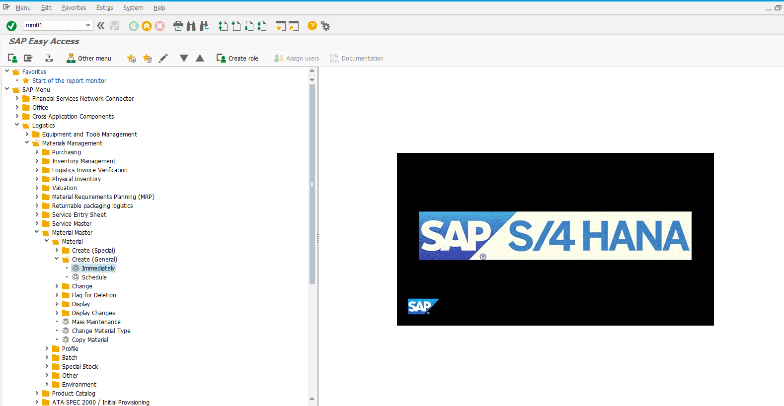 Entering MM01 SAP transaction in SAP HANA Easy Access