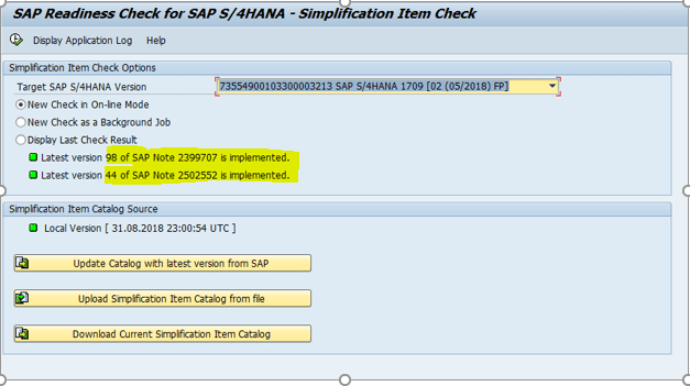 SAP Readiness Check for SAP S4HANA - Simplification Item Check