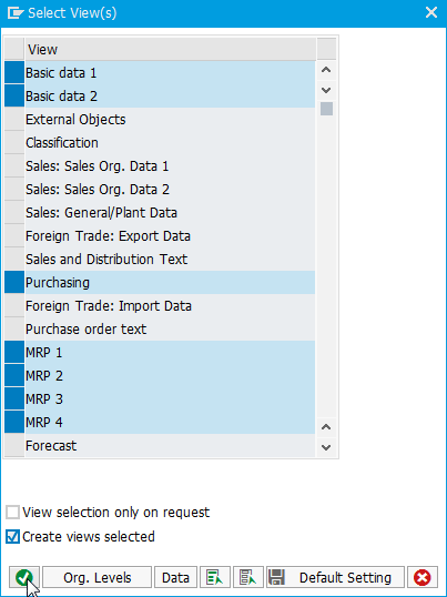 Selecting the SAP Material Master views