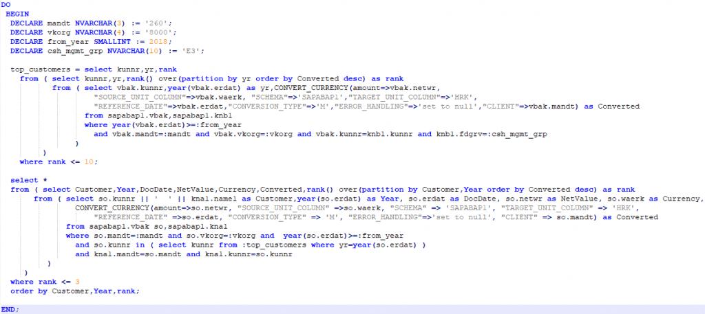 SAP Blog: SAP HANA Development - SAP HANA Anonymous SQLScript Block