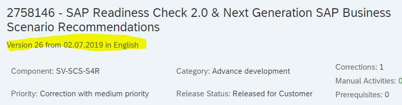 SAP Blog - SAP Readiness Check 2 0 for SAP S/4HANA